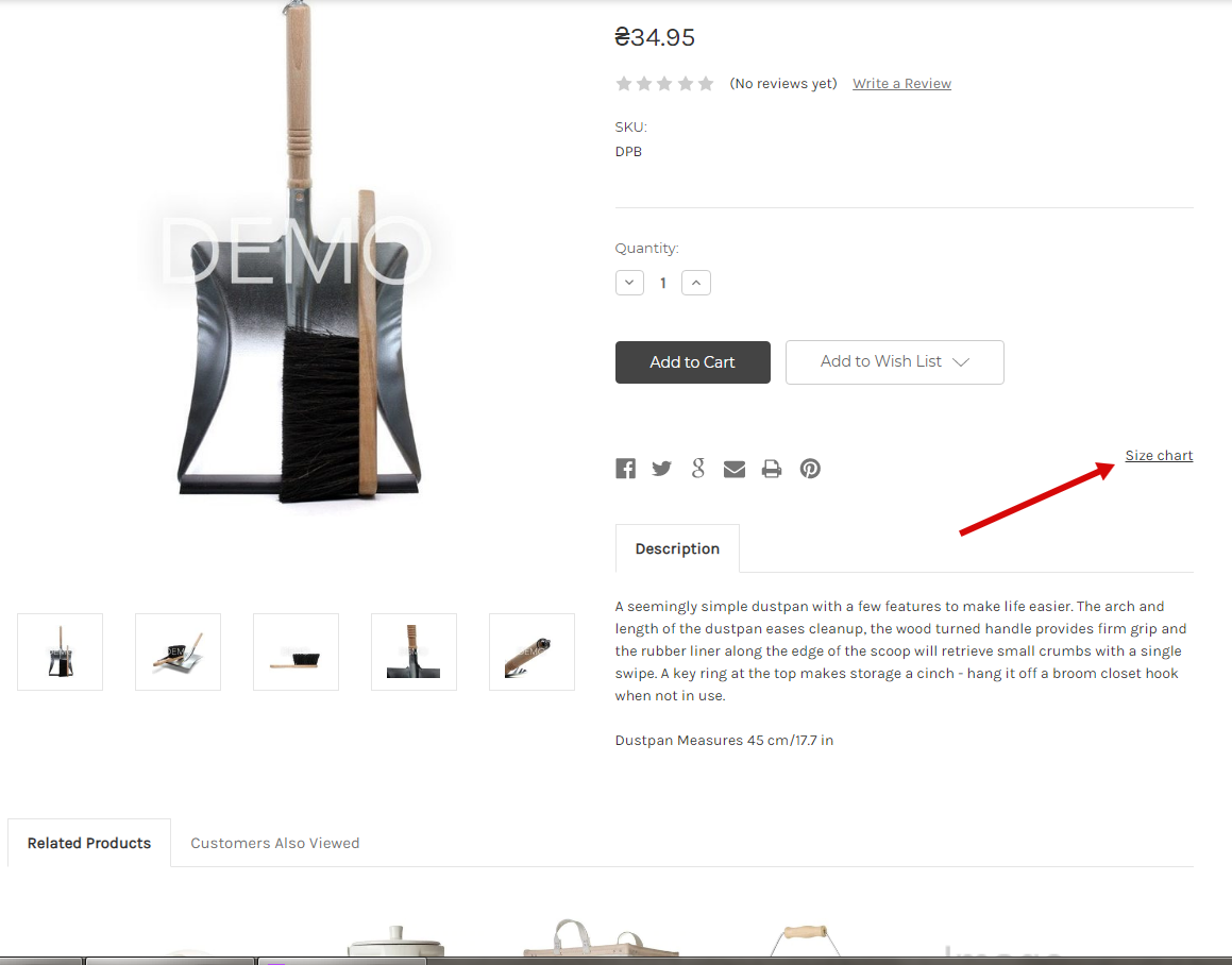Changed position of the size chart link/button on the product page
