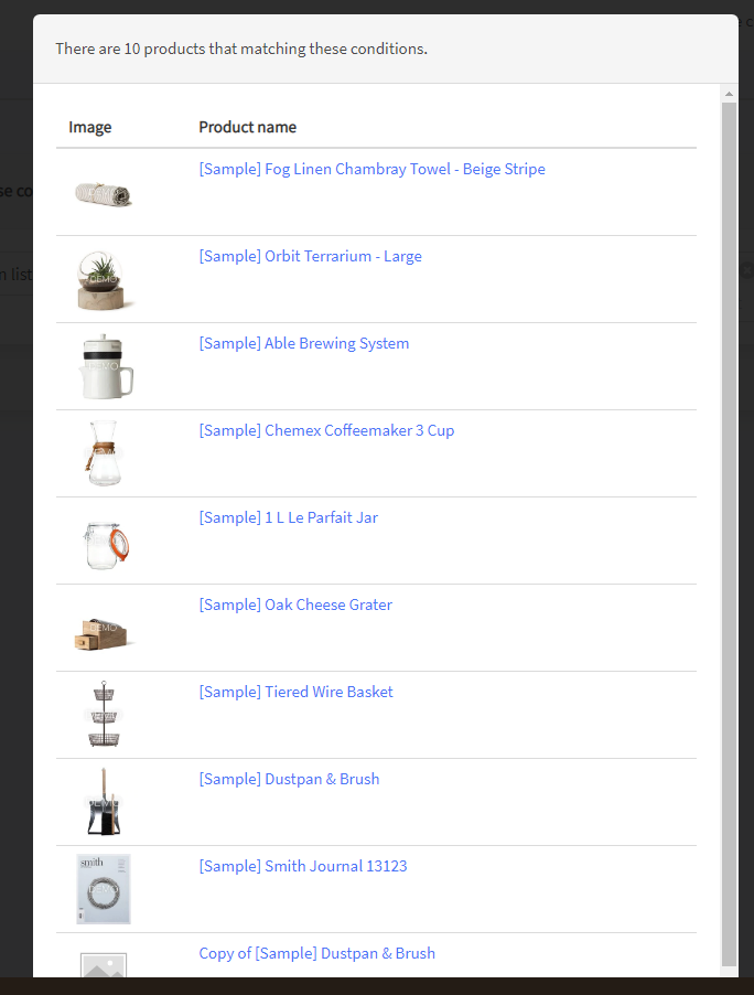 Preview all products except excluded in a filter designer - Prikid Size Charts App for BigCommerce