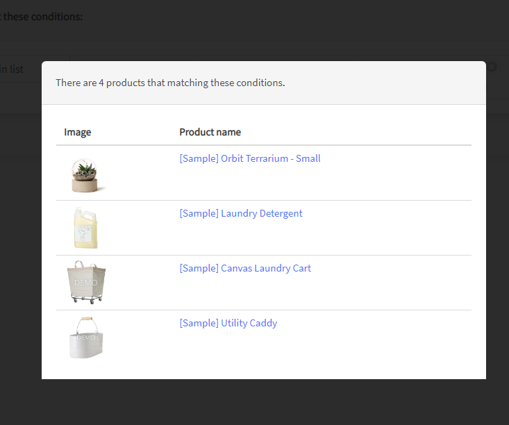Preview selected products in a filter designer - Prikid Size Charts App for BigCommerce