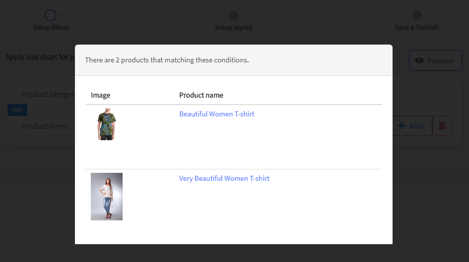 Preview selected products - Prikid Size Charts App for BigCommerce